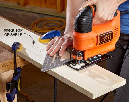 <b>Photo 1: Cut the shelf to length</b></br> <p>Use a fresh blade and a square to guide your cut. A miter saw is the best tool for the job, but if you don't have access to one, you can substitute almost any other saw.</p>