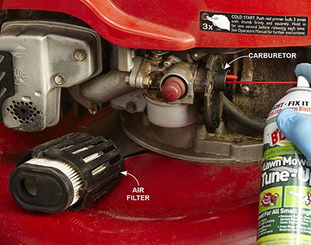 <b>Photo 1: Give it a blast of fuel</b></br> <p>Remove the air filter and shoot a one-second burst of an aerosol petroleum-based lubricant (not starting fluid, silicone or Teflon spray) directly into the carburetor throat. Try starting. If the engine starts and then dies, that confirms you've got a fuel problem.</p>