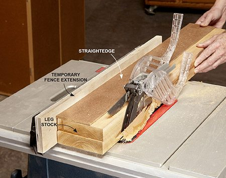 <b>Photo 2: Cut a straight, even edge</b></br> <p>Nail a straightedge made from an MDF or wood scrap onto the leg stock with the straight-edge overhanging slightly. Run the stock across a table saw with the straight-edge against the fence to cut a perfect edge.</p>