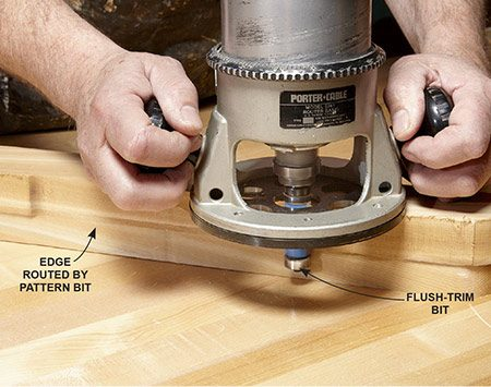 <b>Photo 4: Complete the back legs</b></br> <p>Flip the leg over and make a second pass using a flush-trim bit. This bit has a bearing on the bottom and will follow the shape already cut by the pattern bit.</p>