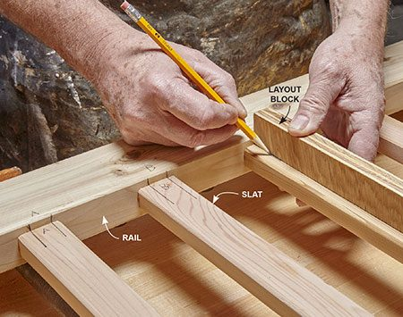 <b>Photo 5: Mark the dowel locations</b></br> <p>Center a block of 3/4-in. plywood on each back slat. No need to measure—just center the block by eye. Mark each slat and the rail along both sides of the block. Label each joint with a letter as a guide for assembly later..</p>
