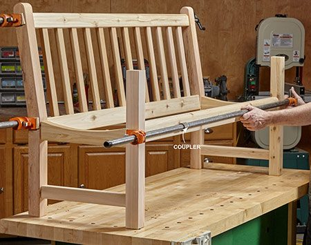 <b>Photo 9: Put it all together</b></br> <p>After building the back and leg assemblies, dowel and clamp them together. If your pipe clamps are too short, join pipes with threaded couplers.</p>