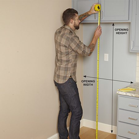 <b>Make sure it'll fit!</b></br> <p>Some appliances, like stoves and dishwashers, are made to fit standard-size openings in your cabinetry, but not refrigerators. You may find one the right width and then discover that it's too tall. To avoid surprises on delivery day, measure the width and height of the refrigerator space and jot it down before you go shopping. Allow at least an inch of extra space on all sides of the refrigerator for easy installation and adequate ventilation. Also make sure the new refrigerator will fit through doorways leading to the kitchen.</p>