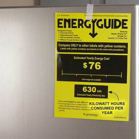 "<b>Check the EnergyGuide sticker</b></br> <p>Use the EnergyGuide stickers to comparethe annual operating costs of the refrigerators you're considering. Also, if you know how much your old refrigerator costs to run, you can figure out how much you'll save by buying a new, energy-efficient model. To do this, multiply the ""estimated yearly electricity use"" in kWh (kilowatt-hours) from the EnergyGuide sticker by the cost of your electricity per kWh. For example, if the tag shows an annual usage of 630 kWh and your electricity costs 8¢ per kWh, multiply 630 by .08 to arrive at an annual cost of $50.40.</p>"