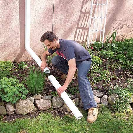 <b>Extend the Downspout</b></br> <p>Landscaping near the house can create a basin for water. Extending the downspout usually solves the problem.</p>