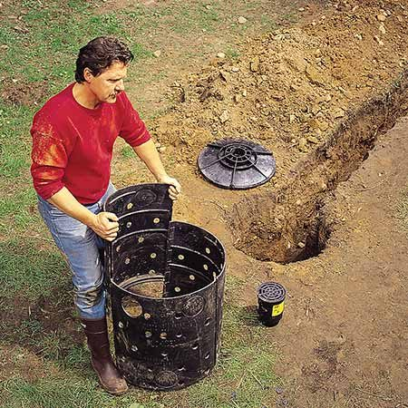 <b>Dry Well</b></br> <p>Commercially available dry wells like this are easy to assemble and provide a holding tank for excess runoff water while it drains out the sides and bottom.</p>