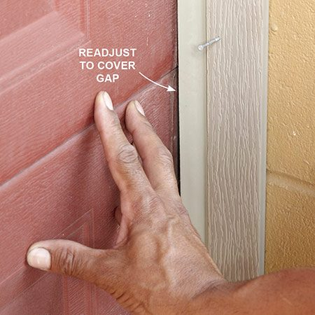 <b><b>Photo 5:</b> Readjust to accommodate door movement</b></br> <p>Apply pressure to the door to simulate the effect of a strong wind. Then move the doorstop inward to maintain a good seal. The gap may not be the same in every location along the sides, so check it in several spots and readjust accordingly.</p>