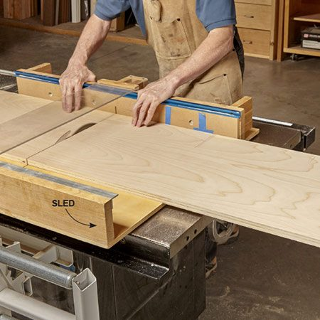 <b><b>Photo 3:</b> Cut the rough-sized blanks</b></br> <p>Crosscut the plywood strips using a table saw sled or guide for a circular saw.</p>
