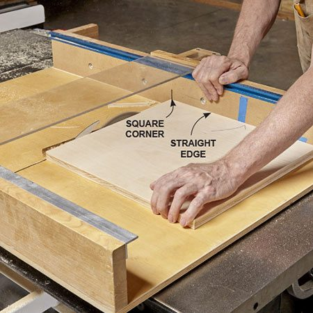 <b><b>Photo 5:</b> Cut one perfect corner</b></br> <p>Place the marked straight edge of each blank against the sled's fence, then crosscut one end of the blank. Mark the square corner.</p>