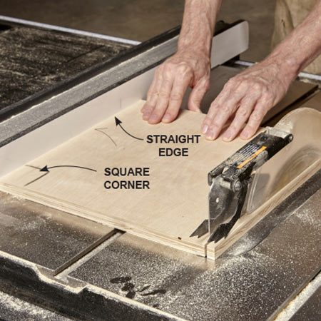 <b><b>Photo 6:</b> Two cuts make a square</b></br> <p>Use the saw's fence to cut the single-box backs to fnal size. Make one rip cut, then rotate the piece 90 degrees and make a crosscut. The result will be a perfect square.</p>