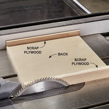 <b><b>Photo 7:</b> Set your fence to cut the ends</b></br> <p>The length of each end piece equals a back plus two thicknesses of plywood. Unplug your saw and flip up the guard. Place these pieces next to the saw blade, then butt the fence up to them. Cut the remaining pieces to width and length using the fence as well.</p>