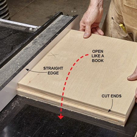 <p><b>Photo 1:</b> Cut two pieces</p> <p>To check your sled's accuracy, cut two large pieces of plywood from the same side of the sled's fence. Stack the pieces on top of each other with the newly sawn edges facing the same way. Lay the stack against the table saw or other straight edge, then flip the top piece over—like opening a book.</p>