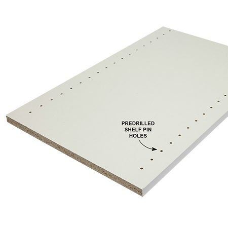 <b>Predrilled panels save you time</b></br> <p>At most home centers, you'll find 4 x 8-ft. melamine sheets. These full sheets are by far the most economical choice, but we bought 15-3/4-in. x 97-in. panels instead. These smaller panels come with banding on one or two edges and are available with or without pre-drilled shelf pin holes. So although we spent about three times as much as we would have on full sheets, we avoided hours of drilling and edge banding—plus the strain of transporting, lugging and cutting big, heavy sheets. Some home centers carry small melamine panels, but you may have to special-order them or shop online. Plan to cut 1/2 in. off each end to remove the ragged edges.</p>