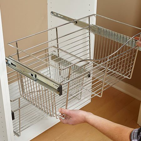 <b>Choose your hardware first</b></br> <p>If you're planning to install accessories similar to the ones we used for our project, be sure to buy them before you build the cabinets. Our wire baskets required a 24-in. opening, while the shoe shelf rails needed a 29-1/2-in. opening to allow for the width of the shoe shelves (with rails installed) plus the shelf pins.</p>