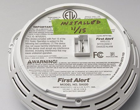 <b>Note the date</b></br> <p>Stick a piece of tape on the back of the smoke detector and write down the installation date. Replace it 10 years from that date.</p>