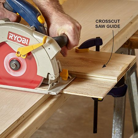 <b>Photo 2: Cut the strips to length</b></br> <p>A crosscut guide allows you to make perfectly square cuts exactly where you want them. Mark the cut location and line up the guide. Clamp the guide and make the cut. Make sure to keep the saw bed tight to the guide fence as you make the cut.</p>