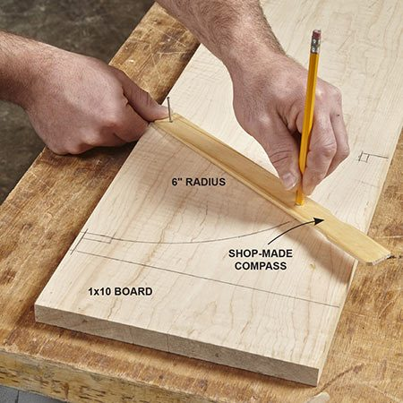 <b>Photo 3: Mark the curved brackets</b></br> <p>Use the dimensions in Figure A to mark the shape of the bracket on the 1x10 board. Drill a nail hole and pencil hole in a scrap of wood to use as a compass. Cut out the shape with a jigsaw. Sand the curve until it's smooth. Then use this bracket as a template to mark the three remaining brackets.</p>