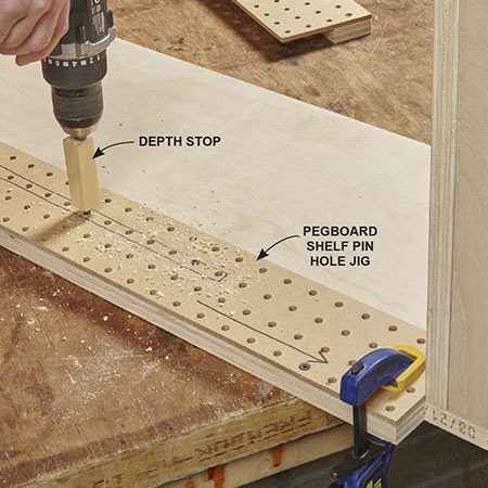 <b>Photo 8: Drill holes for shelf pins</b></br> <p>To avoid mix-ups, drill the shelf pin holes after assembling the shelves. Build mirror-image drill guides from 1/4-in. pegboard with 1x2 stops. Drill a hole in a block of wood to use as a drill-bit depth stop.</p>