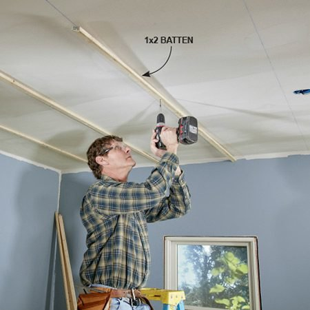 <b>Start with battens on finished ceilings</b></br> <p>If you're installing T&G over drywall (or plaster especially), it's a good idea to install 1x2 battens and fasten them directly to the framing with 2-1/2-in. screws. They'll give you a much more solid nailing surface. If you try to nail through the T&G and the drywall, you can't be sure the nail will penetrate far enough to securely hold. Also, the battens will somewhat flatten out uneven ceilings. Another plus: You can run the battens either parallel or perpendicular to the ceiling framing, depending on which way you want the T&G to run.</p>