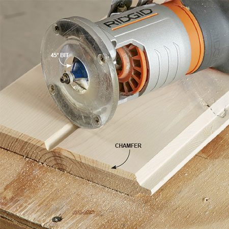 """<b>Prep the ends</b></br> <p>Recut the ends of every board. You'll remove staples left over from shipping wrap, cut away any splits and get clean, square edges. One of the best tricks to get a professional-looking installation is to add a 45-degree bevel, called a """"chamfer."""" This technique is called """"V-grooving."""" The V-groove will mask small inconsistencies in butt joints. You can either apply finish to the raw wood on each chamfer before nailing up each board or touch up the entire ceiling after it's finished.</p>"""