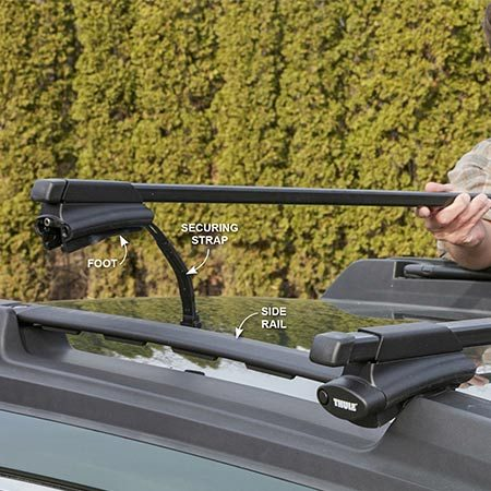 <b>If you have a roof rack, upgrade the crossbars</b></br> <p>Lift the front and back crossbars onto the factory side rails. Space them according to the crossbar manufacturer's instructions. Then secure the feet to the rails using the wrench provided.</p>