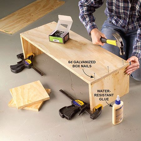 <b>Photo 1: Build the box</b></br> <p>Cut the plywood sides to size and glue and nail the sides together. Use clamps to hold the sides upright.<p>