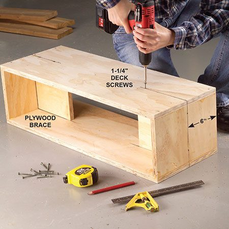 <b>Photo 2: Add the braces</b></br> <p>Predrill screw clearance holes through the planter sides and screw in a plywood brace at each end. Center the brace.</p>