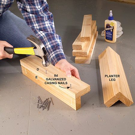 <b>Photo 3: Assemble the legs</b></br> <p>Rip 5/4 decking material and cut it to length for the legs. Glue and nail a 3-in. piece to a 2-in. piece. Buy your plastic planter boxes first and adjust the planter dimensions if necessary.</p>