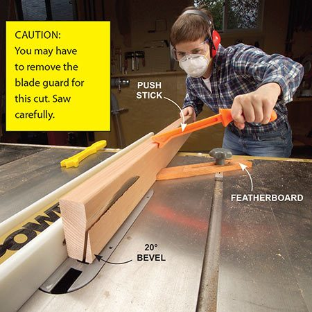 <b>Photo 5: Bevel the cap boards</b></br> <p>Rip a 20-degree bevel on the2x4 caps with a table saw. Use a featherboard and push stick for extra safety.</p>