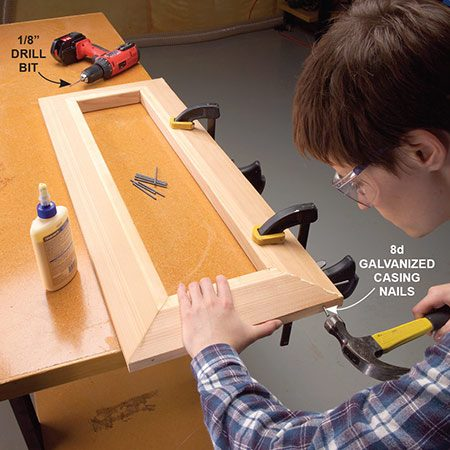 <b>Photo 6: Assemble the cap</b></br> <p>Cut the cap pieces to length with 45-degree miters on the ends. Drill pilot holes for the nails. Then glue and nail the miters together.</p>