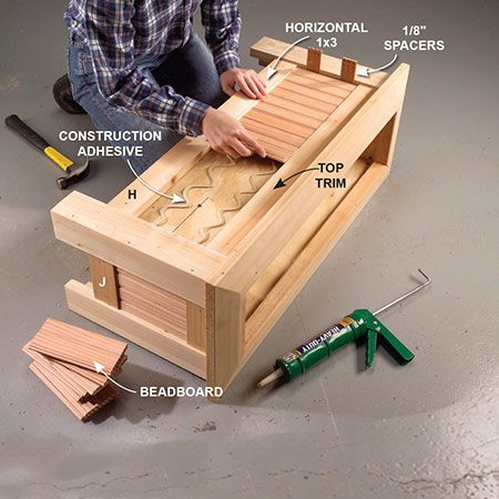 <b>Photo 8: Cover the box</b></br> <p>Cut the trim pieces H and J to length and nail them to the top and bottom edges of the box. Cut beadboard to fit and glue the pieces onto the plywood with construction adhesive.</p>