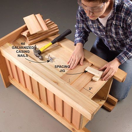 <b>Side the planter</b></br> <p>Cut a starter strip and lap siding pieces to length and nail them to the plywood starting at the bottom and working up. Lap each row 1/2 in. over the siding below.</p>