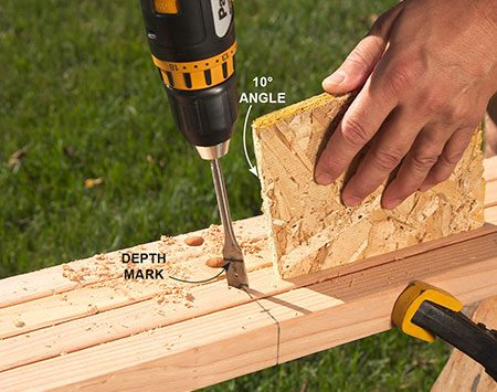 <b>Photo 1: Drill the holes</b></br> <p>Drill holes in the legs using a wood scrap cut at 10 degrees to guide you. With all four legs clamped together, it's easy to get the holes to line up.</p>