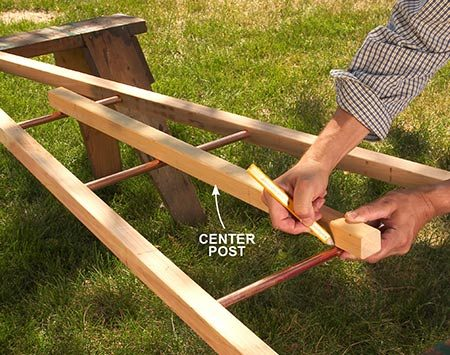 <b>Photo 2: Mark the center posts for pipe holes</b></br> <p>Cut the center posts to length, and use a miter saw to cut points on the ends. Lay a center post on the rungs, which are cut from copper pipe, and mark the rung holes directly on the post. Be sure the post is centered top to bottom and side to side.</p>