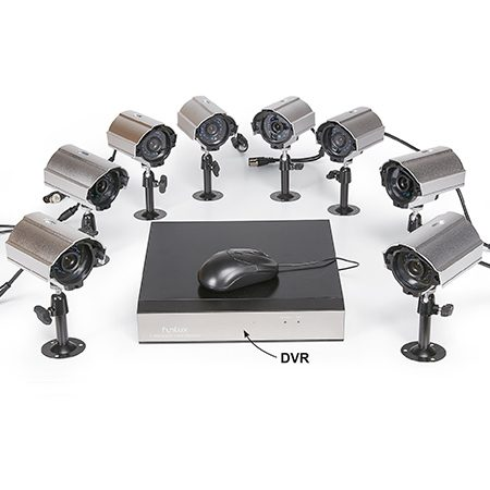 """<b>2. Hardwired</b></br> <p>These full-featured """"security systems"""" are about as good as they get, but setting them up takes a bit of work. They're hardwired, so you'll likely have to snake some power and video cables through walls and ceilings to mount the cameras exactly where you want them.</p>  <p>Many of these kits—like the Funlux Home Security Camera System shown here—include multiple high-resolution, fullcolor water-resistant cameras that can be mounted indoors or out, and will record several days' worth of video on a dedicated DVR. You can also watch live video from any or all of the cameras on a high-definition TV or remotely via your smartphone or tablet.</p>"""