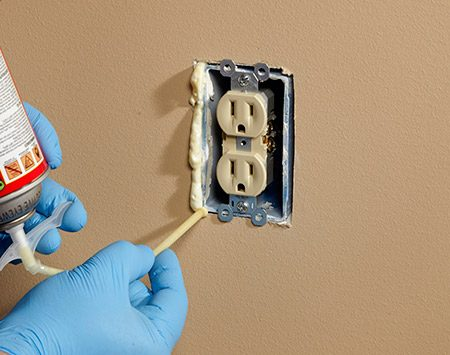 <b>Photo 3: Seal Around a Flush-Mounted Box</b></br> <p>Apply foam or caulk into the gap around the flush-mounted box. After foam hardens, you can slice off the excess with a serrated knife.</p>