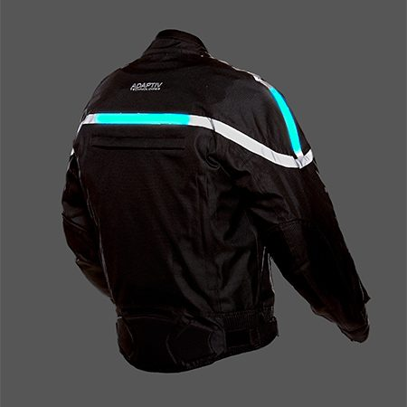 <b>GlowRider Electro-Luminescent Motorcycle Jacket</b></br> <p>The GlowRider Electro-Luminescent Motorcycle Jacket from Adaptiv Technologies has flexible, flashing blue panels sewn into the back and shoulder areas to get you noticed. The flashing panels are powered by a rechargeable lithium battery (included). In addition to the lights, the jacket features back protection and armor at the elbows and shoulders. The outer shell is waterproof and abrasion resistant and includes air vents at the chest, sleeves, upper and lower back, as well as a zip-out quilt liner.</p>