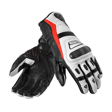 <b>REV'IT! Stellar leather/polyamide motorcycle gloves</b></br> <p>These REV'IT! Stellar leather/polyamide motorcycle gloves provide visibility and exceptional hand protection. Dual-composition honeycomb thermoplastic polyurethane (TPU) and a high-impact aluminum shield protect your knuckles. The gloves also include a hard-shell little-finger protector, a palm slider and impact-resistant foam for index fingers. They're available in black with white, red or green accents, or in white leather with a red accent.</p>