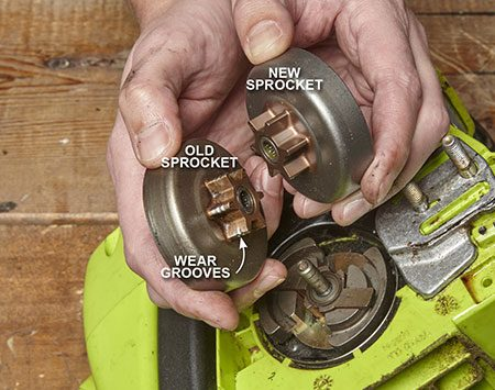 <b>Photo 1: Check the Drive Sprocket for Wear</b></br> Examine the drive sprocket teeth for wear grooves. A shiny spot where the drive links engage with the sprocket teeth is OK. But if you see wear grooves, replace it.