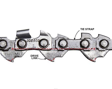 <b>Photo 2: Check the Drive Links and Tie Straps for Wear</b></br> Run your finger gently along the bottom edge of each drive link—they should come to a sharp point. Then check for wear on the chain's tie straps. If any are worn, as indicated by the dotted lines, replace the chain.
