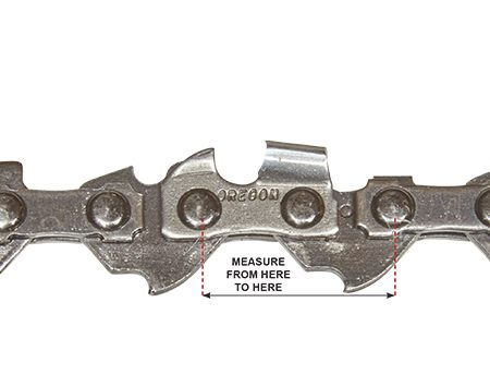 <p><b>Measure the chain pitch</b></p> <p>Measure the span of three rivets (center to center) and divide that number by two to determine the chain's pitch. This one is 3/8 in. (the most popular size for chain saws for home use).</p>