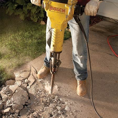 <b>Start with a sledgehammer</b></br> <p>A 10-lb. sledgehammer is usually all you need to bust up that nasty old pad (and get a good workout in the process). To protect the house from flying chips, cover any nearby glass with a sheet of 1/2-in. plywood (shown at left). And be sure to wear goggles to protect your eyes.</p> <p>A few swings with a sledgehammer will let you know right away if you need to call in some heavier equipment. A rental jackhammer will break up a slab much faster than a sledgehammer, with fewer blisters and less sweat. For a small slab, rent an electric model rather than a pneumatic hammer. Rental fees will be about $80 for 24 hours.</p>