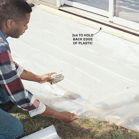 <b>Cover the pad</b></br> To prevent the concrete from cracking while it's curing (hardening), cover it with a plastic sheet to slow the process. Wetting the pad with a fine spray of water every two to three hours for the first day helps too. Higher temperatures require more frequent wetting. The more time concrete has to cure, the stronger it will be.