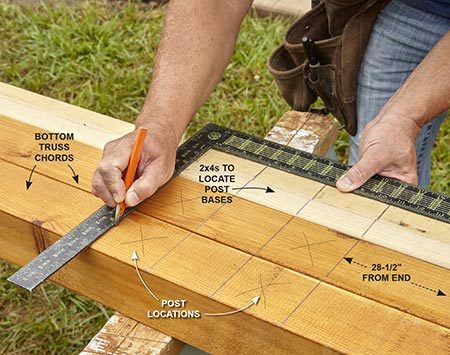 <b>Photo 1: Mark Post Locations</b></br> <p>Align the two bottom truss chords next to each other in order to mark the post locations. Mark two 12-ft. 2x4s at the same time. You'll use them later to make a template that will position the posts perfectly on the slab.</p>