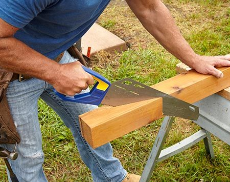 <b>Photo 4: Finish Cuts With a Handsaw</b></br> <p>Cut the long angles with a circular saw first. A standard circular saw with a 7-1/4-in. blade won't cut all the way through, so you'll have to finish the cut with a handsaw.</p>