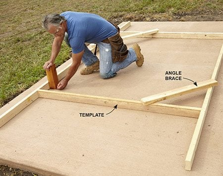 <b>Photo 6: Position Posts With a Template</b></br> <p>Center the template on the slab. Square it up by measuring diagonally from inside corner to inside corner in both directions. Attach a couple angle braces on two corners to keep the template square. Use a 4x4 scrap to mark the post base locations on the concrete.</p>