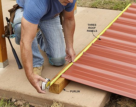 <b>Photo 10: Find the Length of the Purlins</b></br> <p>To avoid cutting the roof panels to width, overlap them. You want them to cover about 8 ft. A little less is fine. Use your roof panel layout to mark the length of the purlins.</p>