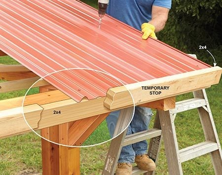 <b>Photo 12: Install the Roof Panels</b></br> <p>Screw two 2x4s to the bottom purlin. The 2x4s will act as a stop, making it easy to install the panels with a perfect 1-1/2-in. overhang.</p>
