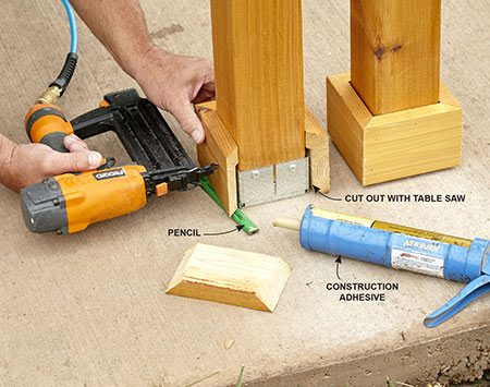 <b>Photo 13: Trim the Posts</b></br> <p>Rest the trim on a pencil while you install it with nails and adhesive. That will keep the trim pieces off the damp concrete. Cutouts on the back of the trim allow it to fit over the post bases.</p>