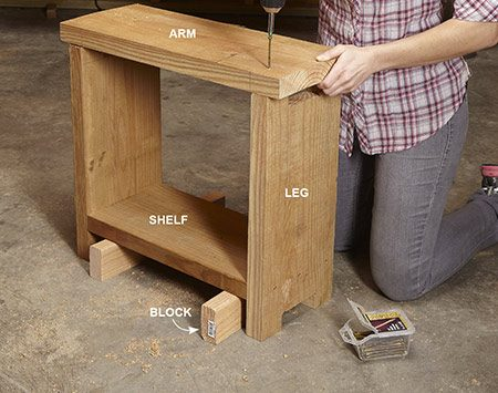 <b>Photo 2: Assemble the tables</b></br> Screw the legs to the bottom shelf, using 3-in. blocks to position it. Then simply screw on the arm.